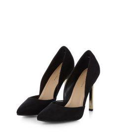 Black Pointed Metal Heels
