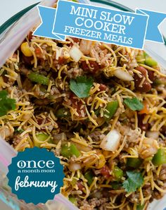 Slow Cooker Mini February 2013 Menu cooking guide tips Freeze Ahead Meals, Slow Cooker Freezer Meals, Crock Pot Slow Cooker, Freezer Cooking, Crock Pot Cooking, Slow Cooker Recipes, Cooking Recipes, Cooking Tips, Mini Crockpot Recipes
