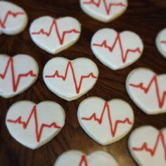 Heart sugar cookies made for a nursing student graduation