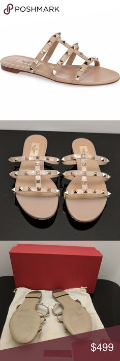 Valentino Rockstud Beige Leather Blush Slides CONDITION Gently Used Scuff on soles Worn a couple times so there is wear on the sole. Slight imperfection on tip of one toe as well.  DESCRIPTION Gorgeous, stylish and so comfy! The perfect blend of the slip-on trend with an edgy feel to it. This color goes with everything too - it will be a staple in your closet for years to come!  DETAILS Type:Sandals Size:US 8 Heel Height:Flat Color:Beige/Blush Brand:Valentino Width:Regular (M, B)…
