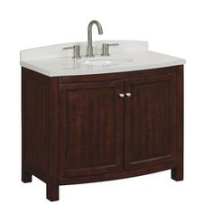 Allen Roth Moravia Sable Single Sink Vanity With White Engineered Stone Top Common