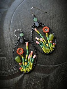 Flowers, Wire Wrapped, Hoops, Artisan Made, Coral, Leaves, Summer, Spring, Glass, Organic, Rustic, Boho, Unique, Beaded Earrings