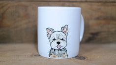 Hand painted animal mug  - Cute mug cup - dog mug cup - dog mug - Yorkshire Terrier dog by CreativeStoneCera on Etsy