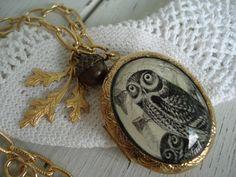 Owl Totem Locket Pendant Necklace Forest by boxerlovinglady, $30.00