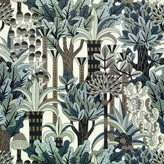 Inspired by an Indian garden with its flowers, shrubs and fountains, this new design by Pierre Marie illustrates a refined world in which the profusion of plants and flowers symbolises serenity and well-being. The Jardin d Fabric Wallpaper, Wall Wallpaper, Pattern Wallpaper, Textile Patterns, Print Patterns, Textiles, Deco Cafe, Pierre Marie, Hermes Home