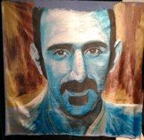 """ZAPPA BLUE GOLD"" (140x190, fabric paintby Aagot.no) #aagotno #art#frankzappa #zappa"