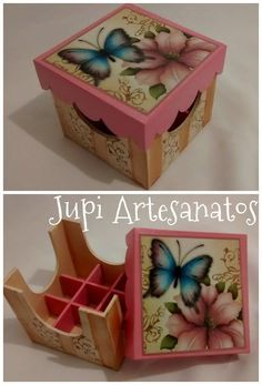 Jupi Artes: Porta Batons Decoupage Vintage, Decoupage Art, Painted Boxes, Wooden Boxes, Glue Art, Decorative Tape, Altered Boxes, Wood Creations, Vintage Box