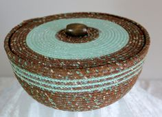 Fabric Bowl with lid  coiled  wrapped clothesline  by Ropewrapping, $55.50