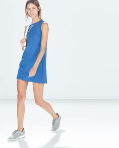 Image 1 of DRESS WITH BACK SLIT from Zara . Rock this as a dress or as a tunic with the re-soul Mishas in gold.