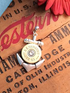 Bullet Jewelry - Nautical Anchor Bullet Pendant w/ Brass 12 Gauge Shotgun Casing and Crystal on Etsy, $19.95