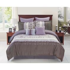 Hudson Grey/ Purple Reversible Comforter Set