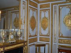 """This is Versailles: Bathroom of Louis XV/Louis XVI  The bathroom was one of the very last changes added to the castle by Louis XV before his death. The engraving of the wood-work are specially made to fit with a bathroom - symbols of diverse """"aquatic pleasures"""" cut out in medallions in gold, bronze and green gold of a mat varnish. Unlike many of the other wood-works carried out during Louis XV these were not made by Verbeckt but by his very rival Antoine Rosseau in"""
