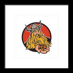 Viking Handing Hazelnut Circle Retro Framed Print By Aloysius Patrimonio Illustration of a viking warrior raider barbarian handing hazelnut facing front set inside circle on isolated background done in retro style. #illustration #VikingHandingHazelnut