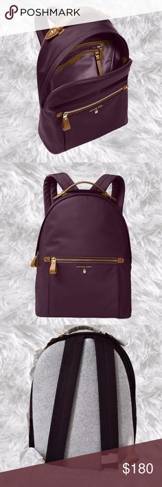 Michael Kors Kelsey Damson Fashion Backpack NWT Purple, Large, Nylon, Padded straps provide all-day carry for a durable MICHAEL Michael Kors backpack finished with a flash of hardware and a light sheen. 1L top handle; 25-1/4 to 35L adjustable backpack straps Zip-around closure Gold-tone exterior hardware, logo  1 zip compartment 1 interior zip pocket  4 slip pockets Tablet compatible (std. size 8-10) Nylon; lining: polyester; trim: faux leather Michael Kors Bags Backpacks