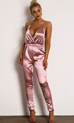 One Long Night Satin Sleeveless Spaghetti Strap Backless Cross Wrap V Neck Elastic Waist Skinny Jumpsuit - 3 Colors Available Satin Slip, Satin Fabric, Satin Jumpsuit, Backless Jumpsuit, Fashion News, Fashion Outfits, Satin Color, Color Red, Satin Blouses