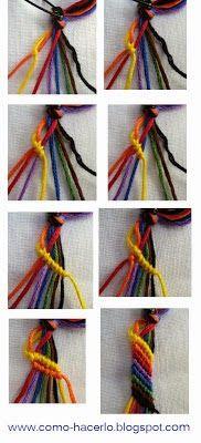 Hoy viernes 21 de Febrero, os traemos algo sencillo. Una pulsera con hilos que podréis hacer con diferentes materiales: hilos, lana, cuerda....