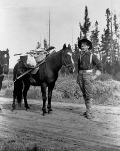 OUTDOORS MAN: A young Yellowstone National Park guide stands with his pack horses. 1903