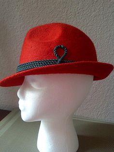 Vintage striking RED FEDORA HAT Unisex