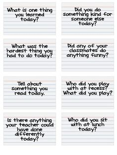 PDF with 24 questions to ask kids at the end of the day.This would be great for parents or teachers. This is a free download from TpT.