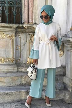 Nuqa Official Mint Fırfır Takım – Home Trends 2020 Modern Hijab Fashion, Muslim Women Fashion, Islamic Fashion, Abaya Fashion, Fashion Wear, Modest Fashion, Fashion Outfits, Womens Fashion, Hijab Style Dress