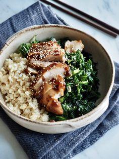 Teriyaki kylling med grønnkål og ris Risotto, Dinner Recipes, Rice, Ethnic Recipes, Jim Rice, Brass