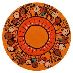 de la serie RONDAS AL AIRE LIBRE-35cm diámetro-técnica mixta sobre madera-C001 Drawing For Kids, Texture, Drawings, Mexico, Gardens, Art For Toddlers, Kid Art, Murals, Paintings