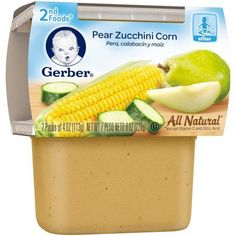 Gerber 2nd Foods Pear Zucchini Corn Baby Food, 4 oz, 2 count