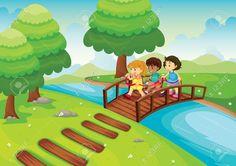 cartoon park background | wooden bridge , detailed illustration of a kids crossing bridge .