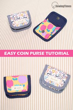 Purse Patterns Free, Coin Purse Pattern, Cute Coin Purse, Coin Purse Tutorial, Diy Purse, Sewing Machine Projects, Small Sewing Projects, Sewing Crafts, Sewing Tutorials