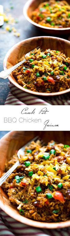 Crock Pot BBQ Chicken Quinoa Recipe | WholeYum.com