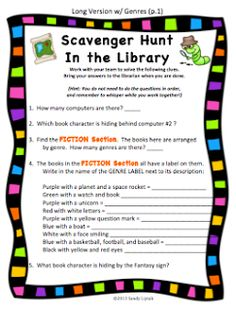 scavenger hunt of library sections and other first day of school (first day in the library) lesson ideas