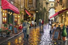 Street Paint By Number Kit DIY Acrylic Painting on Canvas & Frame 1840 in Crafts, Art Supplies, Painting Supplies, Paint by Numbers Kits Creation Photo, Paint By Number Kits, Fantasy Landscape, Art Plastique, Acrylic Painting Canvas, Beautiful Paintings, Les Oeuvres, Landscape Paintings, Scenery