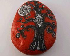 Third Eye Tree-Painted Stone