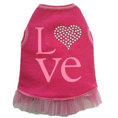 Love Flamingo Pink Tank Dress for Dogs with Rhinestone Heart - so pretty and flirty for your sweet baby...this dress is perfect for dressing up but with a hint of Lycra, its cozy too!