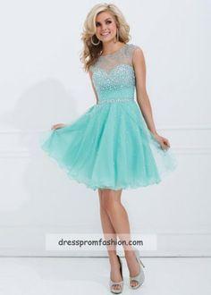 Short Illusion Neckline Aqua Sparkling Homecoming Dress