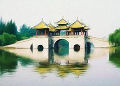 New print available on lanjee-chee.artistwebsites.com! - 'Five Pavilion Bridge Slender West Lake' by Lanjee Chee - http://lanjee-chee.artistwebsites.com/featured/five-pavilion-bridge-slender-west-lake-lanjee-chee.html
