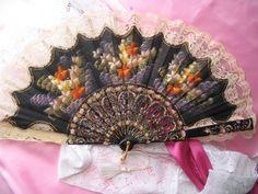 Beautiful Hand Held Vintage Fan From Spain