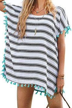 Yonala Women's Stripe Chiffon Trim Beachwear Bikini Cover-Up - http://todays-shopping.xyz/2016/06/10/yonala-womens-stripe-chiffon-trim-beachwear-bikini-cover-up/