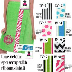 Lime Terry Velour Ribbon Trimmed Spa Wrap - Monogrammed !   Miss Lucy's Monograms   www.misslucysmonograms.com