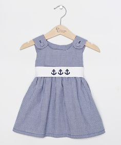 Take a look at this Princess Linens Navy Gingham Anchor Sash Jumper - Infant, Toddler & Girls today!
