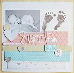 What to Put in a Baby Scrapbook: Some Top Creative Ideas - Scrapbooking Store From Scrapbooking Store! Sharing great crafts and scrapbook layout ideas for every crafter and scrapbookers! Baby Boy Scrapbook, Scrapbook Bebe, Baby Scrapbook Pages, Scrapbook Sketches, Scrapbook Page Layouts, Scrapbook Paper Crafts, Scrapbook Supplies, Scrapbook Cards, Scrapbook Templates
