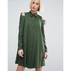 ASOS Cold Shoulder Shirt Dress with Tie Detail (660 ZAR) ❤ liked on Polyvore featuring dresses, green, cut out shoulder dress, cold shoulder shirt dress, t-shirt dresses, open shoulder dress and loose fit dress