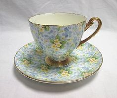 Shelley Primrose Chintz Bone China Blue & Yellow Tea Cup & Saucer w/ Gold Gilt