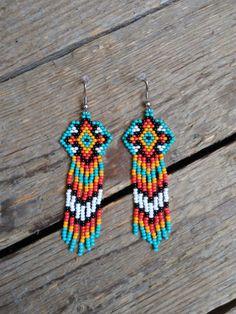 Drop Earrings In Gold other Feather Drop Earrings Silver. Gold Dangle Earrings Forever 21 my Jewellery Online Mumbai Aztec Earrings, Beaded Earrings Patterns, Beading Patterns, Dangle Earrings, Statement Earrings, Chandelier Earrings, Jhumkas Earrings, Beaded Chandelier, Loom Patterns