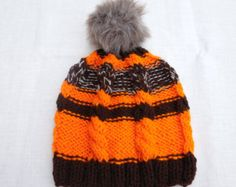 70%OFF Red brown knit hat winter knit hat sluochy by KnitSew4U