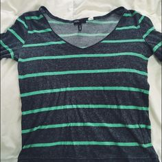 H&M GREY AND MINT STRIPED SWEATER used H&M v-neck sweater grey and green striped. Tag says it's a Large but it fits like a small or medium ☺️ H&M Sweaters V-Necks