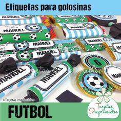 Etiquetas para candy bar de futbol para varones