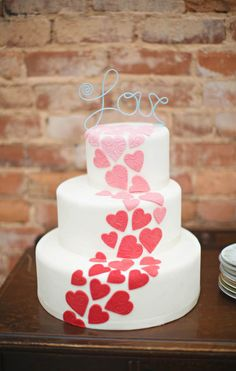Red Embossed Hearts Love Cake