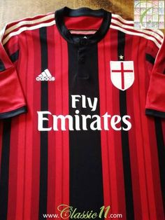 Official Adidas AC Milan home football shirt from the 2014/2015 season.