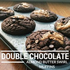 Double Chocolate Almond Butter Swirl Muffins {Under 150 Calories}